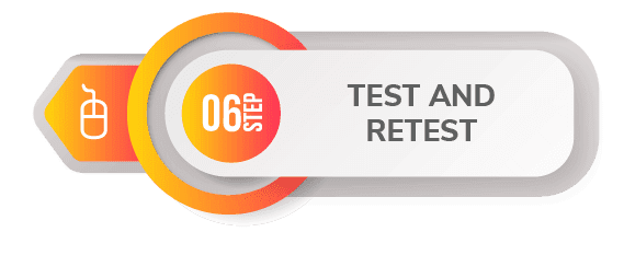 6 step create app test and retest